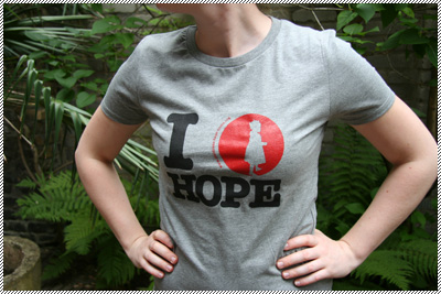 Frauen-T-Shirt I love hope grau